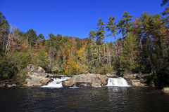 Twin Set of Upper Portion of Linville Falls. Twin set of upper falls of Linville Falls in the Blue Ridge Mountains of North Carolina Stock Image