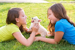 Twin sister kid girls and puppy dog lying in lawn. Twin sister kid girls and puppy dog happy playing with pet lying in backyard lawn royalty free stock photos