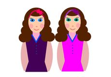 Twin sisters. Nice twin sisters very alike stock illustration