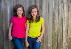 Twin sisters with different hairstyle posing on wood fence Stock Photography