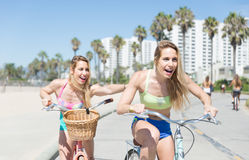 Twin sisters going on the bicycle Stock Image