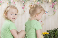 Twin sisters in gri Twin sisters in green T-shirts. Twin sisters Twin sisters in green T-shirts, they sit Royalty Free Stock Photos