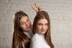 Twin sisters portret Stock Photo