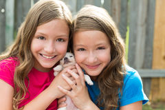 Twin sisters and puppy pet dog chihuahua playing Royalty Free Stock Images