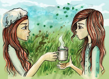 Twin sisters sharing a cup of tea Royalty Free Stock Image