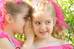Twin sisters sharing a secret. Shot of twin sisters sharing a secret (looking away Royalty Free Stock Images