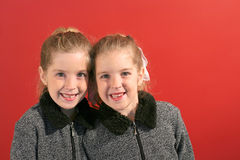 Twin sisters smile Royalty Free Stock Photo