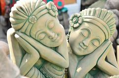 Twin sleep. The statue used to decorate the garden beautiful Stock Photo