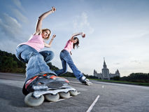 Twin slide. Wide angle photo of twin 'soul-wheeling' slide - little motion blur Royalty Free Stock Photo