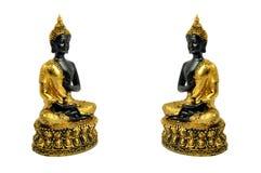 Twin smiling buddha stock photo