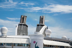Twin Smokestacks on Cruise Ship Under Blue Sky Royalty Free Stock Photos
