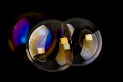 Twin soap bubbles Stock Images