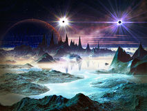 Twin Stars in Orbit Above Alien Landscape. Two brilliant stars with huge planet in orbit above a alien world filled with iridescent blue rock formations and Royalty Free Stock Photo