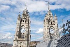 Twin steeples of the Basilica del Voto Nacional, Quito, Ecuador Stock Photos