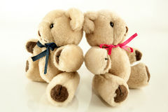 Twin Teddy Bears with Ribbons Stock Images