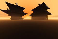 Twin temples. Computer generated illustration Stock Images