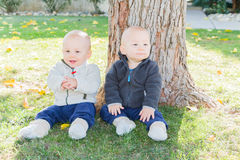 Twin Toddlers Sitting Near Tree Trunk Royalty Free Stock Images