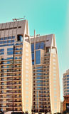 Twin Tower Building in Dubai Marina. Two identical residential buildings in Dubai Marina called The Jewels Royalty Free Stock Photo