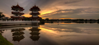 Twin Tower Golden Sunset Panorama Stock Photo