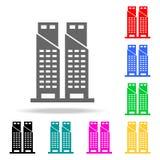 Twin Tower-Ikone Elemente in den multi farbigen Ikonen für bewegliche Konzept und Netz apps Ikonen für Websitedesign und Entwickl vektor abbildung