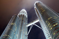 Twin tower in KLCC. At night Royalty Free Stock Photo