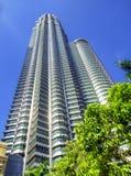 Twin tower in kuala lumpur. Looking up Twin tower againt blue sky in kuala lumpur malaysia Stock Photo
