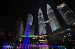 Twin tower Malaysia. The famous tower in Malaysia with dancing fountain Stock Photo