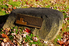 Twin Tower memorial stone in Sleepy Hollow, NY Stock Photography