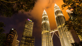 Twin tower in the night Stock Image