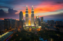 Twin tower. And park, land mark in Kuala Lumpur city, Malasia, Take photo from roof top from hotel near Royalty Free Stock Photos