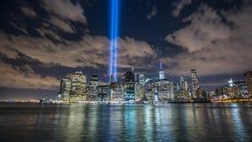 Twin Tower Timelapse New York Manhattan Lazer stock footage