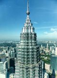 Twin tower top in kuala lumpur. One twin tower top view from another tower observation platform in kuala lumpur malaysia Royalty Free Stock Photo