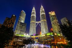 Twin Tower. And other buildings in KL in the late evening Stock Photography