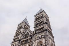 Twin Tower von Lund-Kathedrale stockfotos