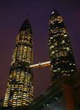 Twin Towers. Skyscrapers at night, Kuala-Lumpur city, Malaysia Royalty Free Stock Image