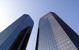 Twin Towers. Two twin commercial buildings made of steel and glass royalty free stock photos