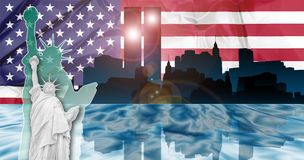 Twin Towers Attack. American patriotic composition of New York with Manhattan skyline and Twin Towers reflected in Hudson river, the Flag and the Statue of royalty free stock image