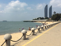Twin towers and beach in Xiamen city, southeast China Stock Photo