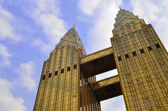 Twin towers buildings Stock Photography