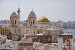 Twin towers of the Cadiz Cathedral Stock Photo