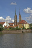 Twin towers of the cathedral in Wroclaw stock photo