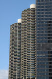 Twin Towers Chicago. Sight of tree tall buildings by the Chicago river Stock Image