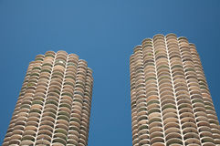 Twin Towers Chicago. Sight of tree tall buildings by the Chicago river Royalty Free Stock Photography