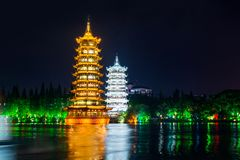 Twin towers in city of Guilin in China Stock Image