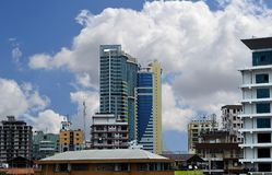 Twin towers in Dar sky royalty free stock images