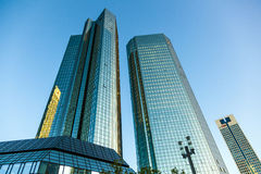 Twin towers Deutsche Bank I and II in Frankfurt. Royalty Free Stock Photo
