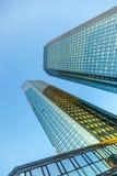 Twin towers Deutsche Bank I and II in Frankfurt. Stock Photo