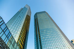 Twin towers Deutsche Bank I and II in Frankfurt. Royalty Free Stock Photography