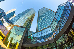 Twin towers Deutsche Bank I and II in Frankfurt. Royalty Free Stock Photos