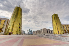 Twin towers in governmental district, Astana Stock Photography